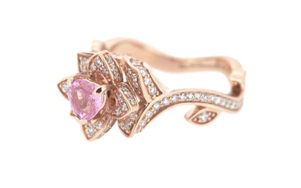 Stunning Diamond & Pink Heart Flower Engagement Ring