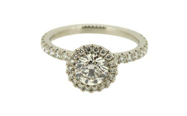 Stunning Large Diamond Halo Platinum Ring Set