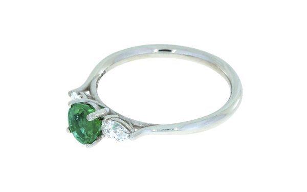 Stunning Emerald Trilogy Platinum Engagement Ring