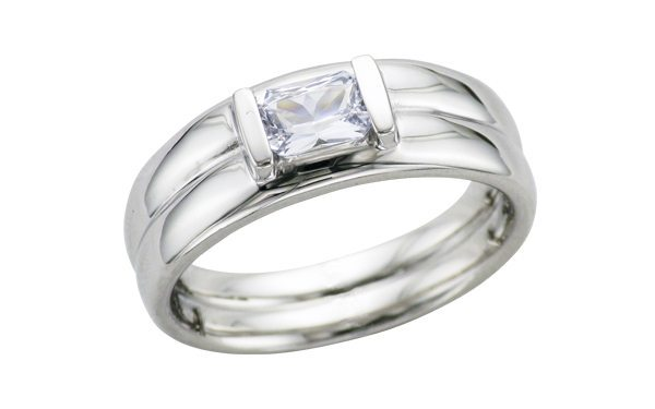 Contemporary white sapphire ring