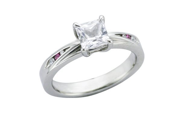 Contemporary White and Pink Sapphire palladium Engagement ring