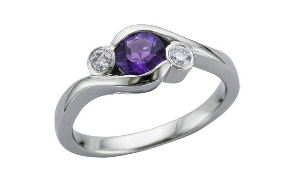 Contemporary 3 Stone Amethyst Diamond Engagement ring