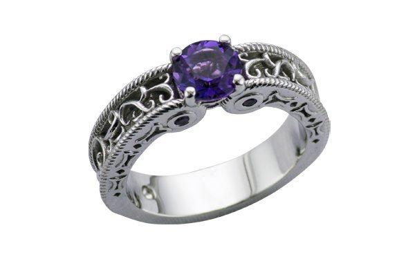 Ornate filigree Amethyst Engagement Ring