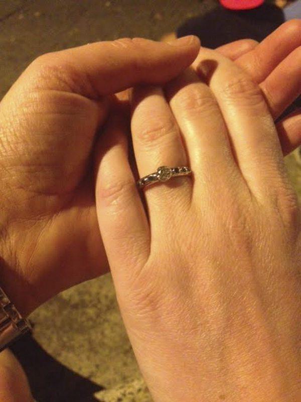 Contemporary Bezel Set Diamond and Emerald Engagement ring