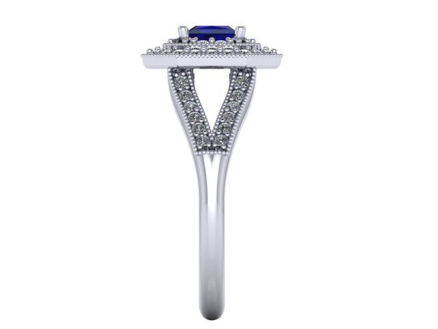 Double Halo Diamond And Sapphire Engagement Ring
