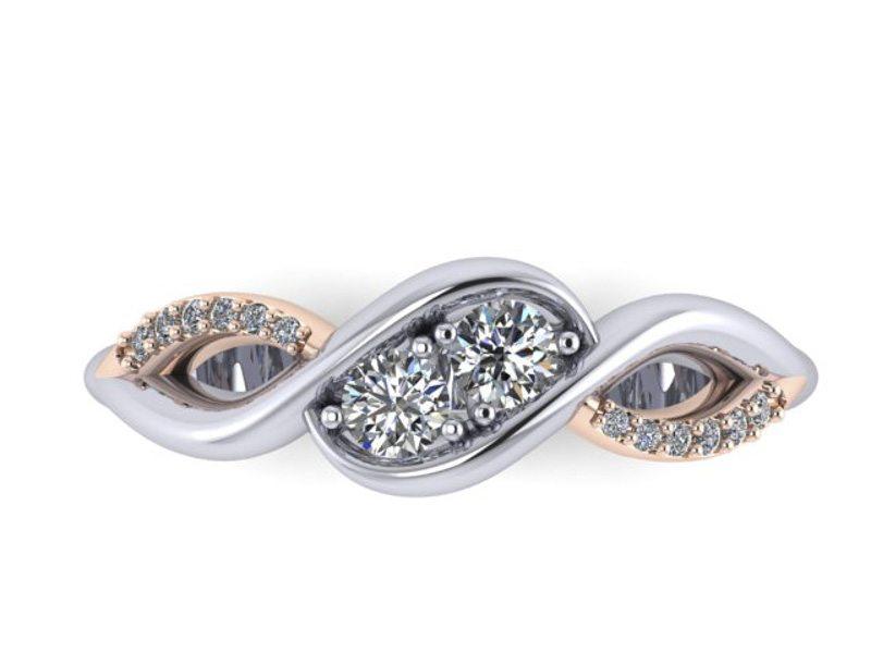 Two Stone Diamond Swirl Engagement Ring, Custom bespoke ring by Durham Rose