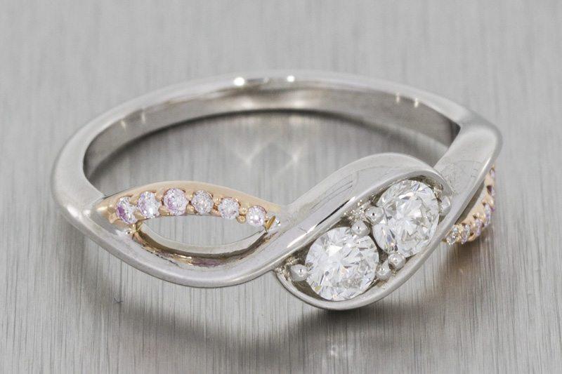 Two Stone Diamond Swirl Engagement Ring
