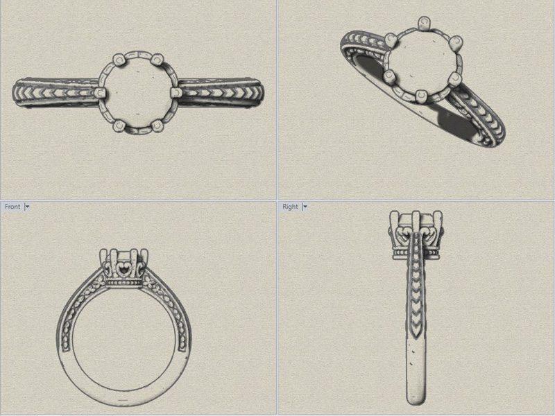 10kt Gold Vintage Sculpted Moissonite Engagement Ring