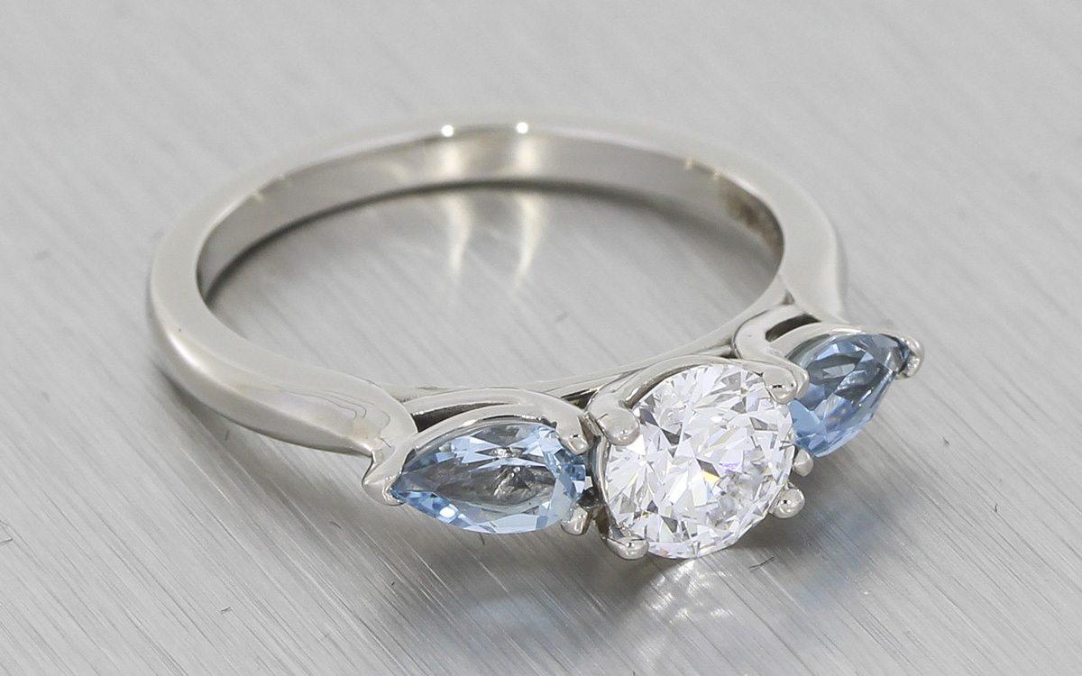 3 Stone Aquamarine Engagement Ring Portfolio Durham Rose