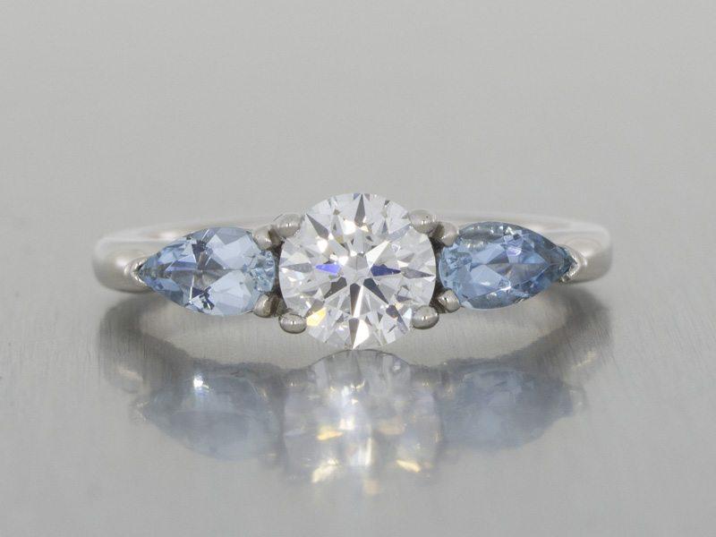 3 stone aquamarine engagement ring