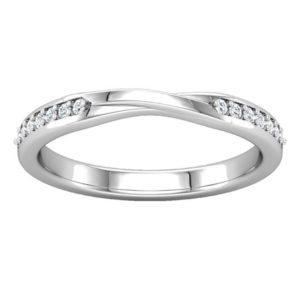 Diamond set twisted wedding band