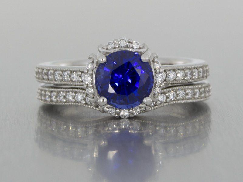 Sapphire and diamond halo ring set