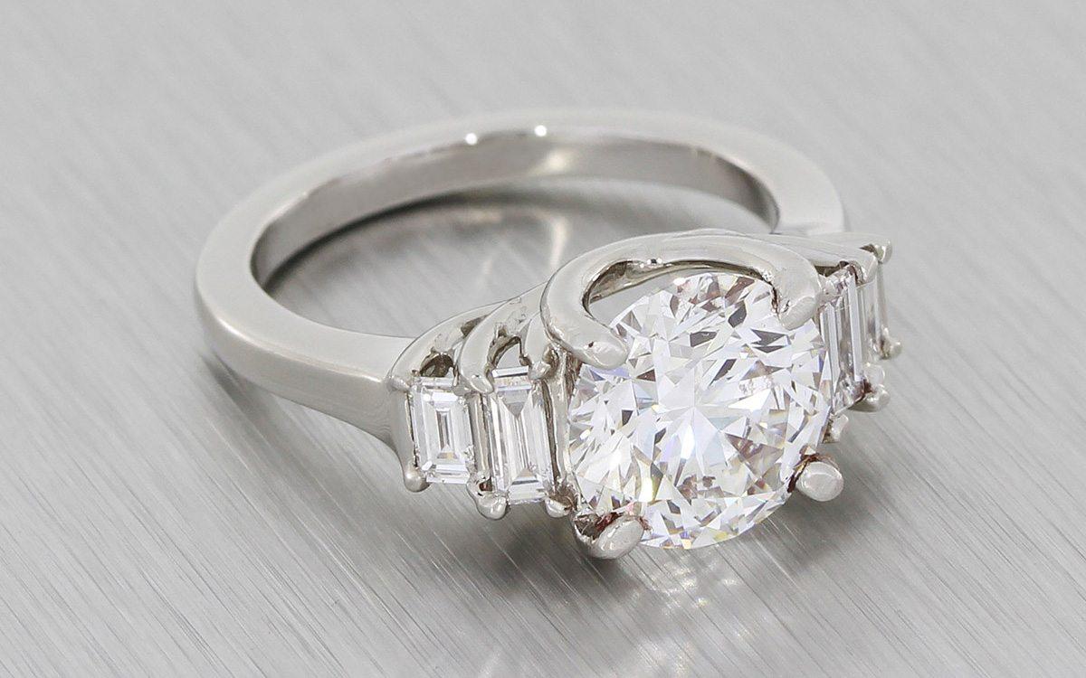 Art Deco Five Stone Diamond Trellis Ring Durham Rose