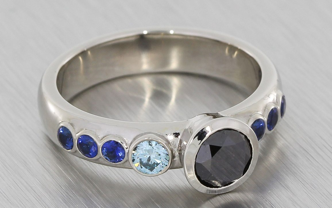 Asymmetrical black and blue diamond engagement ring Portfolio Durham Rose