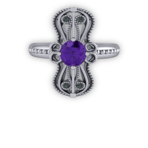 "<a href=""/book-now-bespoke-ring?context=	347-Amethyst-black-diamond-and-platinum-milgrain-long-ring	"">	</a>	Amethyst black diamond and platinum milgrain long ring"