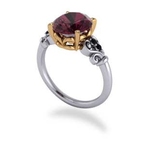 "<a href=""/book-now-bespoke-ring?context=	355-Ruby-Black-Diamond-Filligree-RIng	"">	</a>	Ruby & black diamond filligree ring"