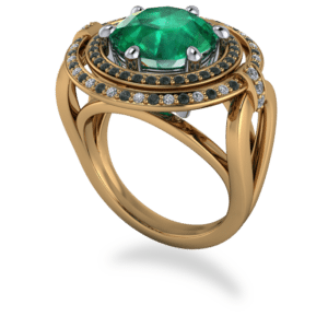 "<a href=""/book-now-bespoke-ring?context=	361-18k-Yellow-Gold-Platinum-2-row-Round-Emerald-Halo-1	"">	</a>	18k yellow gold & platinum 2 row round emerald halo"