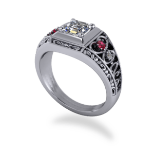 "<a href=""/book-now-bespoke-ring?context=	 365-Bold-Ascher-cut-diamond-and-ruby-ring	"">	</a>	Bold Ascher cut diamond and ruby ring"