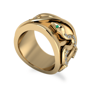 "<a href=""/book-now-bespoke-ring?context=	 369-yellow-gold-diamond-and-emerald-snake-band	"">	</a>	Yellow gold diamond and emerald snake band"