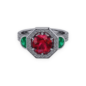 "<a href=""/book-now-bespoke-ring?context=	 370-Ruby-and-emerald-halo-triolgy	"">	</a>	Ruby and emerald halo triolgy"