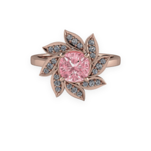 """<a href=""""/book-now-bespoke-ring?context=377-Rose-Gold-Pink-Cushion-diamond-Floral-Diamond-Halo-Ring""""></a>Rose gold pink cushion diamond floral diamond halo ring"""