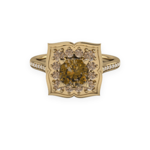 Yellow gold and brown diamond floral cluster ring