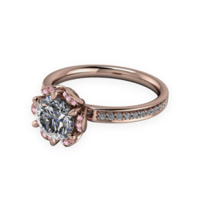 """<a href=""""/book-now-bespoke-ring?context=384-Stunning-Rose-Gold-Dimond-Halo-Inspired-by-natual-Fauna""""></a>Stunning rose gold dimond halo inspired by natual fauna"""