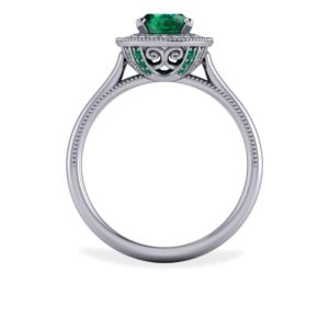 "<a href=""/book-now-bespoke-ring?context=	385-Platinum-and-emerald-filligree-halo-with-millegrain-details	"">	</a>	Platinum and emerald filligree halo with millegrain details"