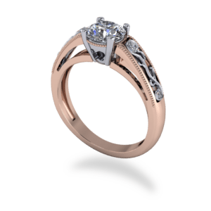 """<a href=""""/book-now-bespoke-ring?context=389-mixed-metal-milgrain-and-filigree-solitaire-floral-ring""""></a>Mixed metal milgrain and filigree solitaire floral ring"""