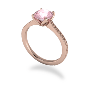 """<a href=""""/book-now-bespoke-ring?context=398-This-Delicate-18kt-Rose-Gold-ring-features-a-round-Morganite-with-demure-detailing""""></a>This delicate 18kt rose gold ring features a round morganite with demure detailing"""