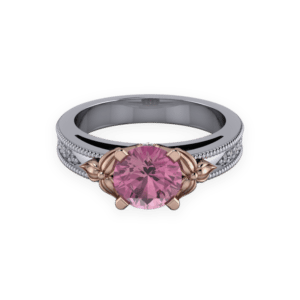 """<a href=""""/book-now-bespoke-ring?context=402-Inspired-by-nature-this-imressive-platinum-and-rose-gold-tourmaline-ring-takes-centre-stage""""></a>Inspired by nature this imressive platinum and rose gold tourmaline ring takes centre stage"""