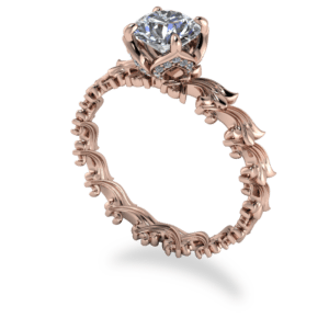 """<a href=""""/book-now-bespoke-ring?context=405-Delicate-rose-gold-scroll-repeating-pattern-band-with-solitaire-diamond""""></a>Delicate rose gold scroll repeating pattern band with solitaire diamond"""