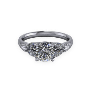 """<a href=""""/book-now-bespoke-ring?context=406-A-refined-platinum-round-brilliant-ring-with-marquise-shoulder-stones.""""></a>A refined platinum round brilliant ring with marquise shoulder stones"""