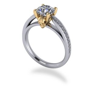 "<a href=""/book-now-bespoke-ring?context=	408-Platinum-and-yellow-gold-4-claw-solitaire-with-skull-detail-and-diamond-shoulders	"">	</a>	Platinum and yellow gold 4 claw solitaire with skull detail and diamond shoulders"