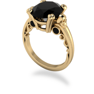 "<a href=""/book-now-bespoke-ring?context=	412-yellow-gold-onyx-solitaire-with-skull-details-and-scrolled-bridge	"">	</a>	Yellow gold onyx solitaire with skull details and scrolled bridge"