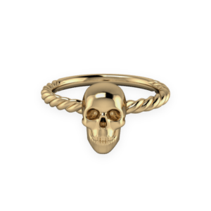 "<a href=""/book-now-bespoke-ring?context=	413-yellow-gold-simple-skull-ring	"">	</a>	Yellow gold simple skull ring"