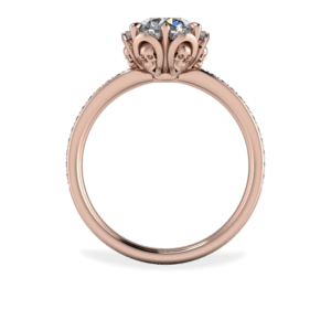 "<a href=""/book-now-bespoke-ring?context=	417-Rose-gold-diamond-halo-with-skull-detail-in-petals	"">	</a>	Rose gold diamond halo with skull detail in petals"