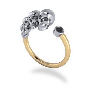 "<a href=""/book-now-bespoke-ring?context=	421-custom-mixed-metal-multi-skull-and-black-diamond-ring	"">	</a>	Custom mixed metal multi skull and black diamond ring"