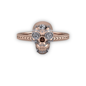 "<a href=""/book-now-bespoke-ring?context=	426-Mixed-metal-sugar-skull-with-diamond-eyes	"">	</a>	Mixed metal sugar skull with diamond eyes"