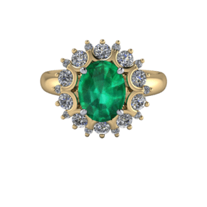 "<a href=""/book-now-bespoke-ring?context=	432-Emerald-and-Diamond-Cluster	"">	</a>	A dramatic emerald and diamond cluster ring"