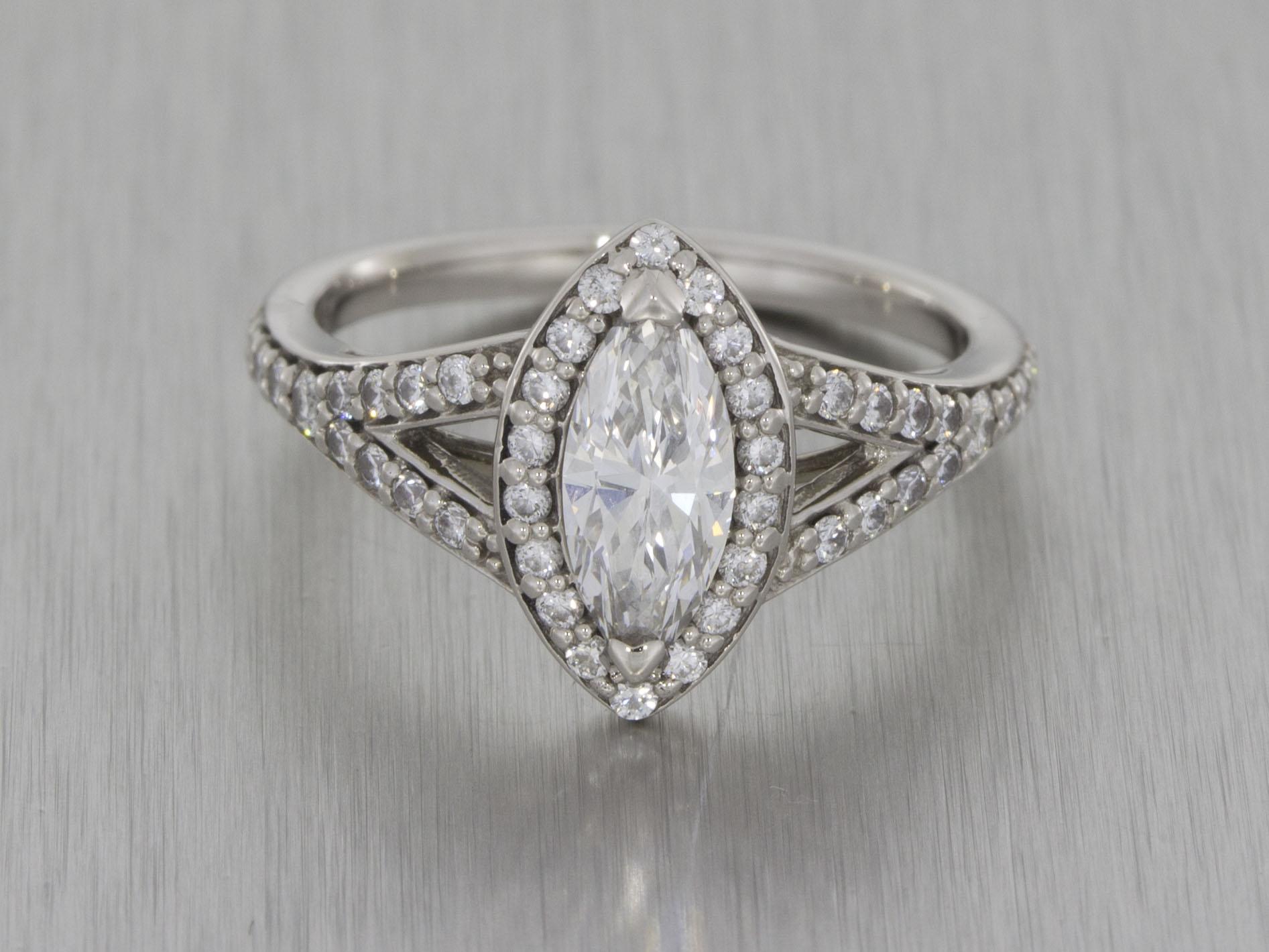 Stunning Split Shank Marquise Diamond Halo Ring With Matching Wedding Band