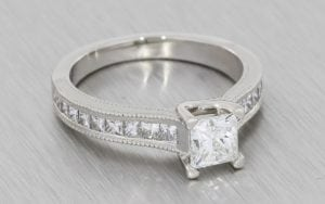 Contemporary vintage princess cut engagement ring - Portfolio