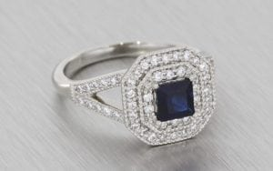 Double-Halo, Diamond and Sapphire Engagement Ring - Portfolio