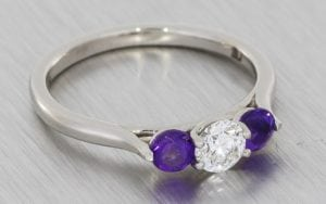 Diamond And Amethyst Contemporary Trilogy Ring - Portfolio