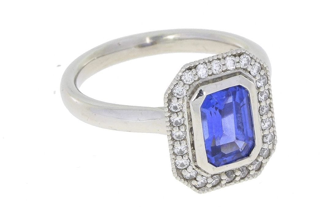 Vintage Inspired Sapphire Halo Ring