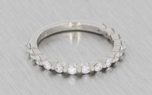 Shared prong Bezel set Diamond wedding band - Portfolio