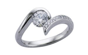 Entwined diamond single twist engagement ring set - Portfolio