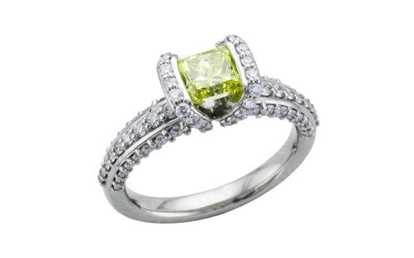 Yellow diamond princess cut palladium ring – Ring of the Week