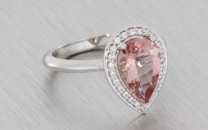 Platinum and Morganite Halo Engagement Ring - Portfolio