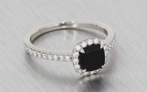 Contemporary Cushion Cut Onyx & Diamond Halo Engagement Ring - Portfolio